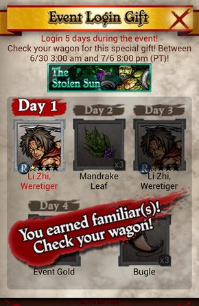 The Stolen Sun Daily Login Bonus