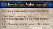 Obtaining Valor Gems