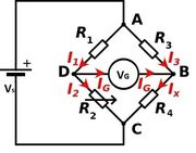 Wheatstone bridge currents