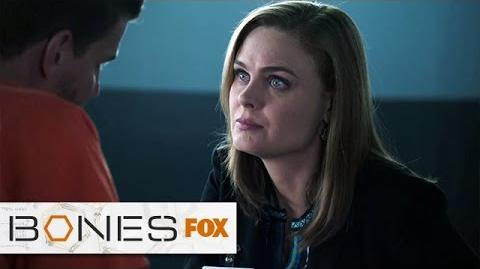"""Brennan Visits Booth In Prison from """"The Conspiracy In The Corps"""" BONES FOX BROADCASTING"""