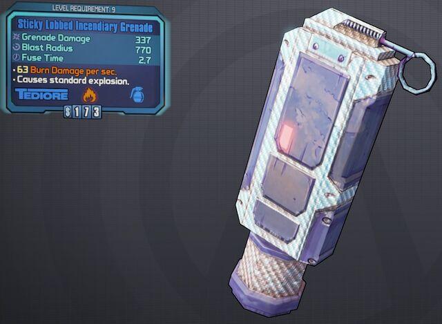 File:Grenade(Tediore) Sticky-Lobbed-Incendiary lvl9.jpg