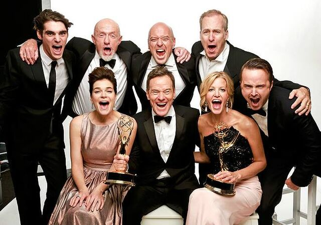 File:BB cast screaming 'Bitch' at 2013 Emmys.jpg