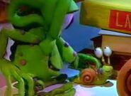 Bumpy putting baby snail down