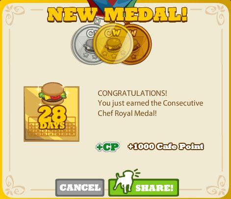 Consecutive Chef Royal Medal
