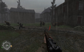 Clearing out enemies in basement of swastika house Approaching Hill 400 CoD2.png