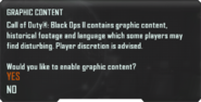 Graphic Content Filter menu BOII