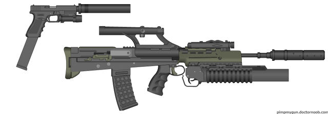 File:PMG L85 with Suppressor, Scope, Grenade Launcher and Taclight + Silenced G18 with Extended Mag and Taclight.jpg