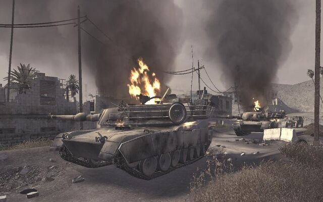 File:Destroyed Abrams Ambush CoD4.jpg
