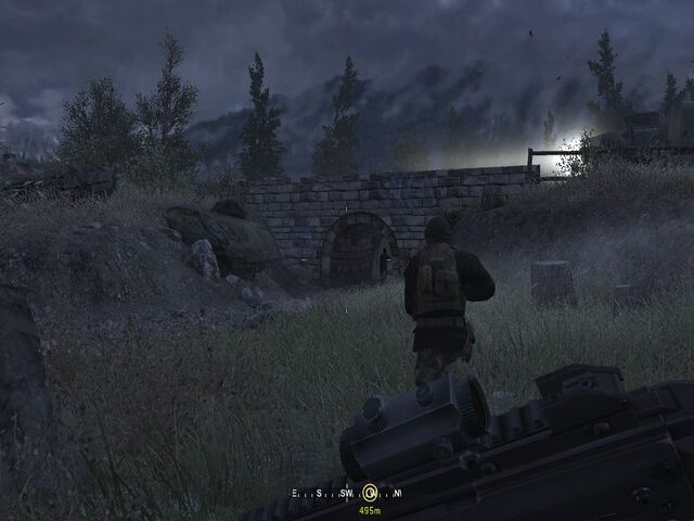 File:Hiding from enemies under bridge Hunted CoD4.jpg