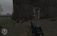 Breaching and entering last house Approaching Hill 400 CoD2