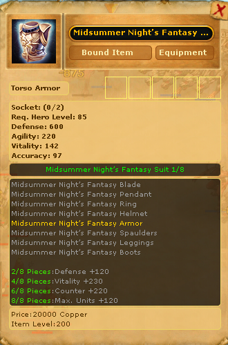 Midsummer Night's Fanstasy Armor