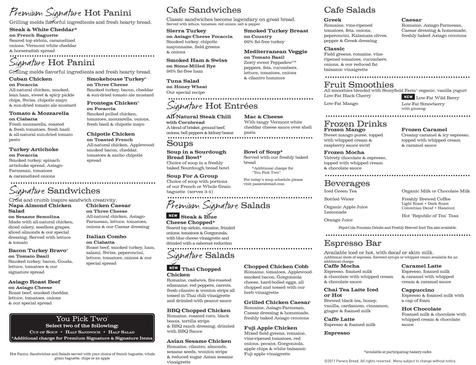 photo about Panera Bread Printable Menu identified as panera bread printable menu