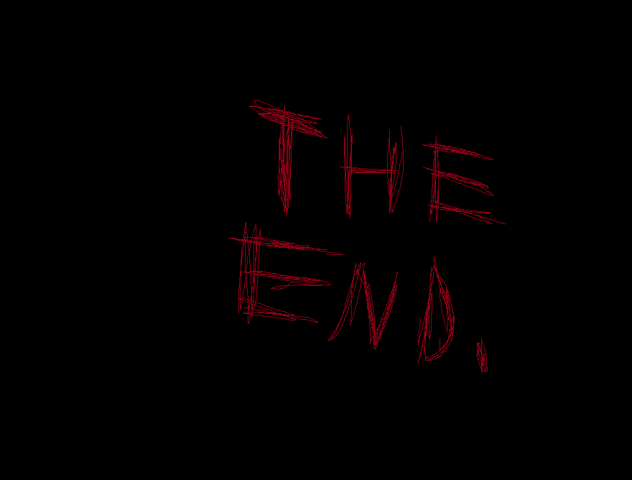 """File:The Bloody """"The End"""" Sign as mentioned in the end of the episode.png"""