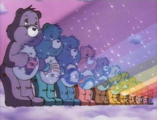 File:The Care Bear Stare in the colors of the rainbow.jpg
