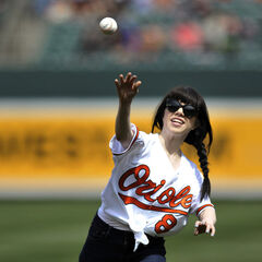 Carly throws out the first pitch at Oriole Park @ Camden Yards.