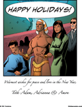 Black Marvel Family Holiday ECard