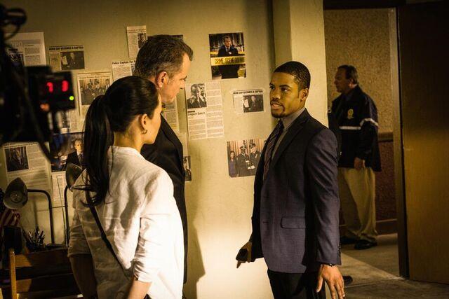 File:002 An Unnatural Arrangement behind the scenes episode still of Lucy Liu, Aidan Quinn and Jon Michael Hill.jpg