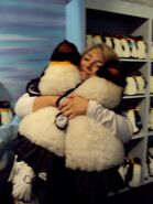 Chloë Agnew and the plush penguins