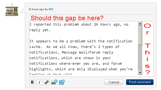 Strange gaps when editing blog comments