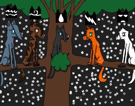 File:The gathering; left to right; mistystar, onestar, rainstar,firestar,blackstar.png