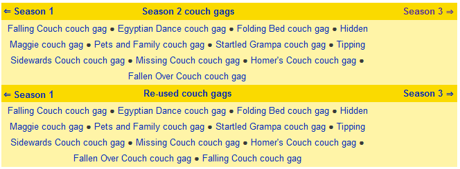 Season 2 couch gags what I want