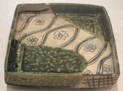 Tray from Japan, Momoyama period, late 16th century, oribe glazed stoneware, HAA.JPG