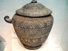 Cinerary urn, unglazed stoneware, Unified Silla