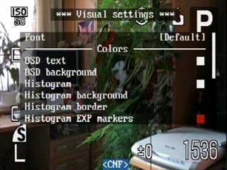 Visual settings menu