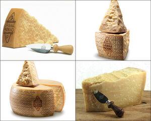 Grana padano-queso y cuchillo