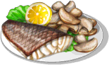 Dish-Striped Bass with Mushrooms