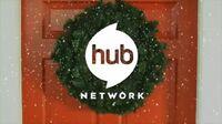 Hub Network logo in a Christmas wreath