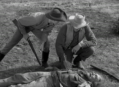 Eduard Franz dead with James Arness(R) and Dennis Weaver(L) in Gunsmoke- Indian Scout