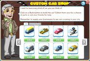 Custom Car Shop menu