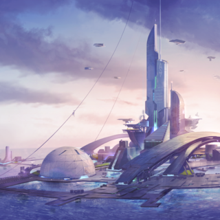 An aquatic city, as shown in a <i>Rising Tide</i> loadscreen