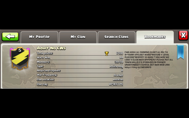 Clash Of Clans - Adult No CWs - Clan Description