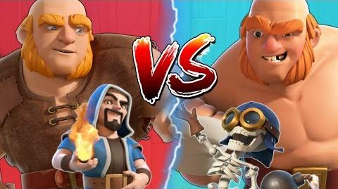 GIANT WIZARD vs GIANT BOMBER - Clash of Clans Battle! Home Village v Builder Base CoC Attacks