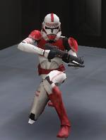 Shock trooper kneeling