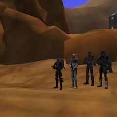 Lan Phaseripper, Leshaak Larcon, Bardock Reed, and Bant Starhusker at Leshaak Larcon's Tatoonie lot!