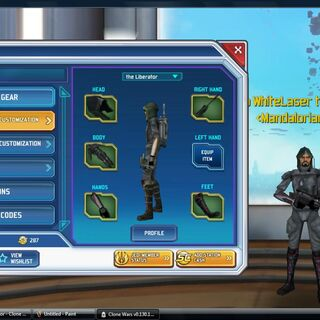 My Assassin gear witch is Mandalorian Deathwatch armor sith inquisitor boots Red Troooper gloves and  Sith agent hood.