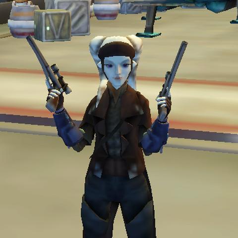 Millie in her bounty hunter gear