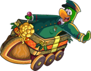 Green penguin riding The Holiday Express