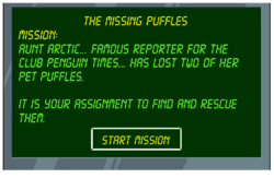 The Missing Puffles start screen