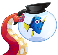 Hanks tentacle holding dory in a pot of water