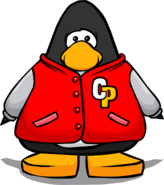 Red Letterman Jacket on a Player Card