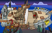 Rockhopper's Quest Migrator docked at Shipwreck Island