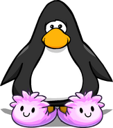 Pink Puffle Slippers on a Player Card
