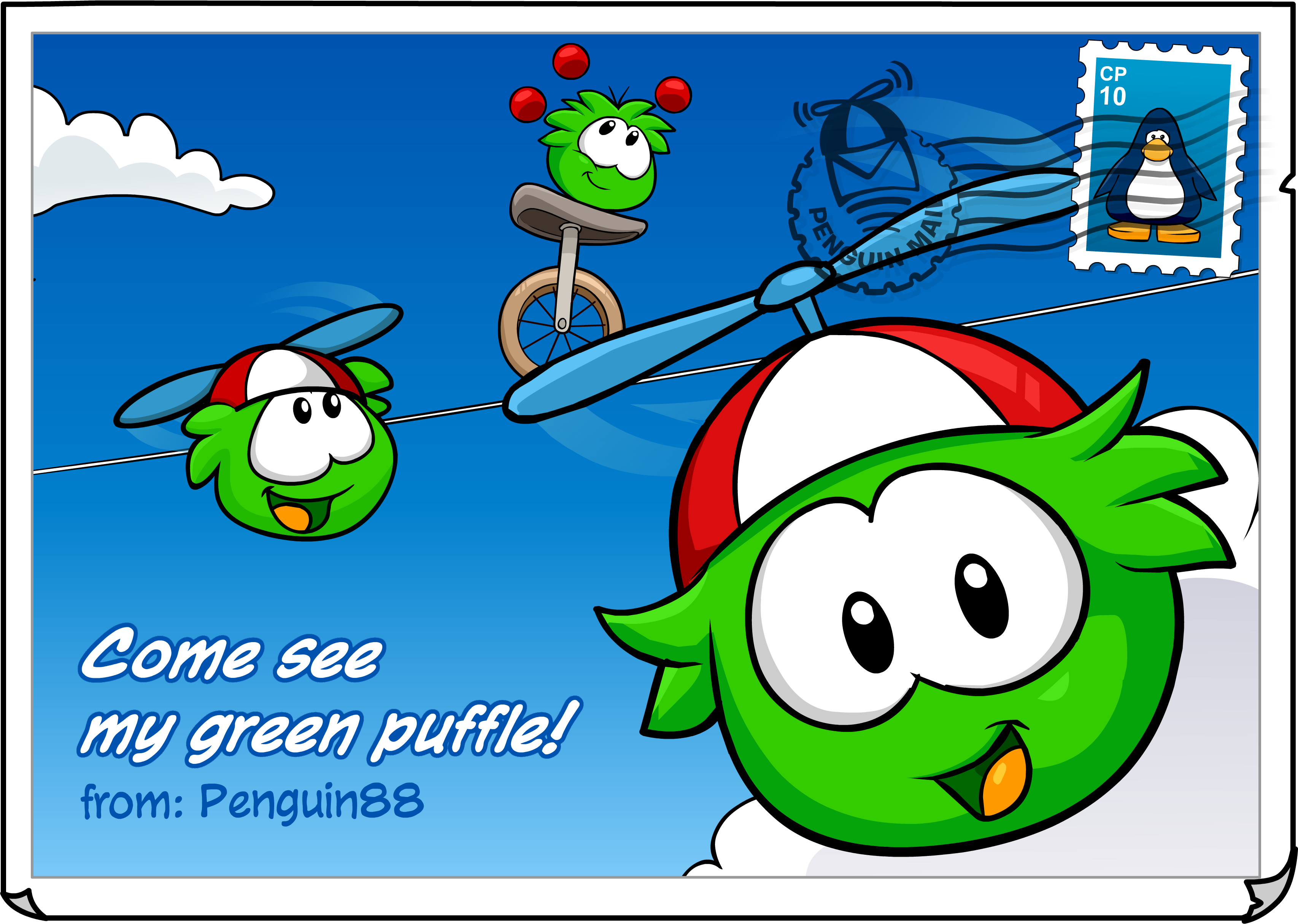 File:Green Puffle postcard.png