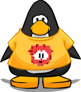 Red Pixel Puffle Tee on a Player Card