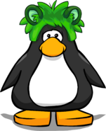 Raccoon Puffle Cap on a Player Card