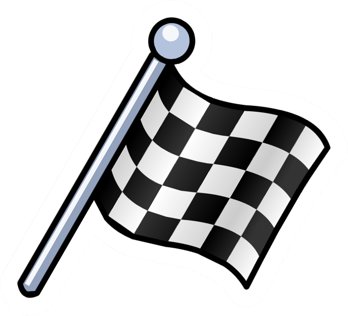Checkered Flag Pin on rare cartoon cars